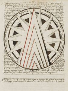The triangles in this map from a 15th-century German apocalyptic manuscript predict the rise of the Antichrist between 1570 and 1600.  THE HUNTINGTON LIBRARY