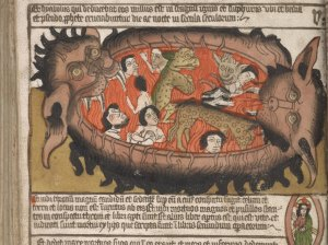 THE HUNTINGTON LIBRARY Unlike the Huntington manuscript, many works published around the same time, such as this hand-colored German book published in 1470, used pictures to depict the impending horrors of the Apocalypse. (LIBRARY OF CONGRESS)